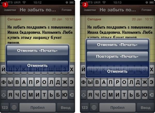 Отмена и повтор ввода текста